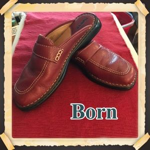 Born Red Leather Mules